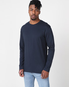 Utopia Basic 100% Cotton Long Sleeve Tee Navy