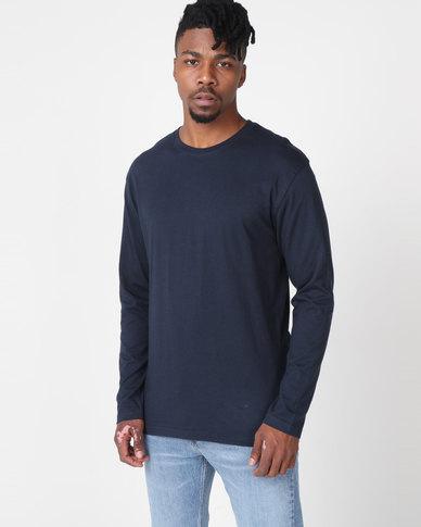 Utopia Basic 100% Cotton Long Sleeve Tee Navy