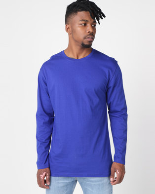 Utopia Basic 100% Cotton Long Sleeve Tee Cobalt Blue