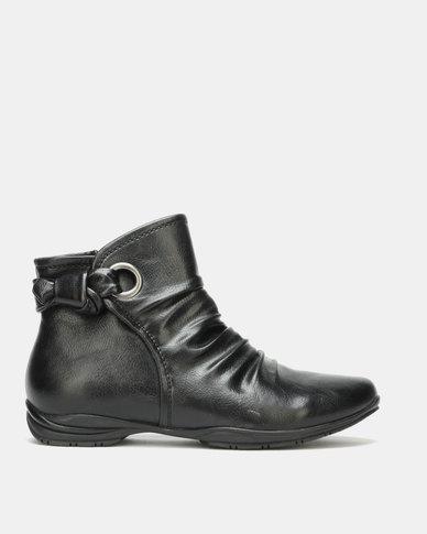 Franco Ceccato Flat Ankle Boots Black