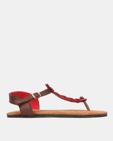John Buck Emily Louise Croc Sandals Red
