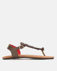 John Buck Emily Louise Croc Sandals Brown