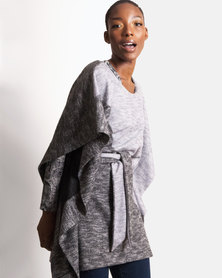 Marique Yssel Belted Poncho - Greys Colorblock
