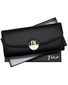 Fino Tri-Fold  Elegant Pu Leather Purse with Box Black