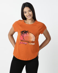 Billabong Daylight Fades Raglan T-shirt Orange