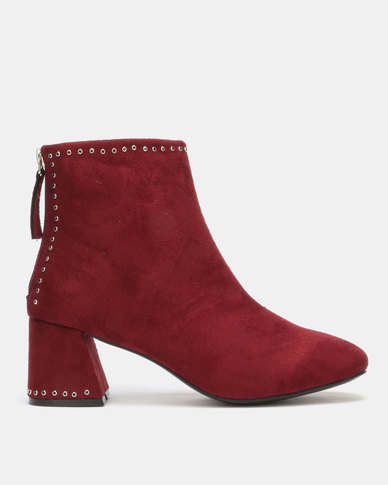 Utopia Eyelet Boots Red-Purple