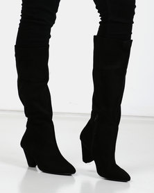 Utopia Knee High Cone Heel Boots Black