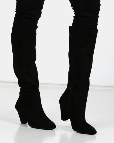 Utopia Knee High Cone Heel Boots Black