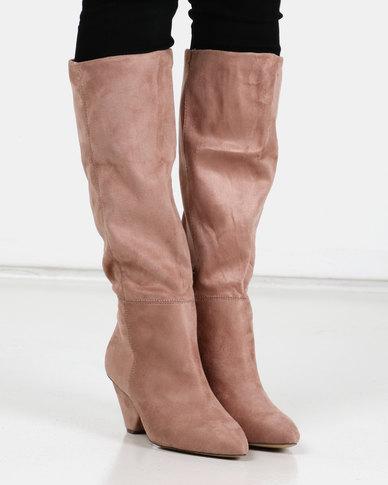 Utopia Knee High Cone Heel Boots Nude
