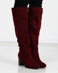 Utopia Knee High Heel Boots Maroon