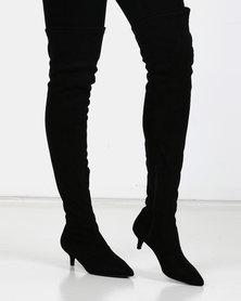 Utopia Kitten Heel OTK Boots Black