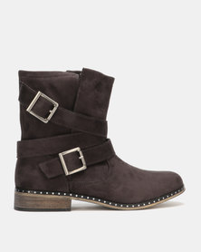 Utopia Buckle Boots Grey