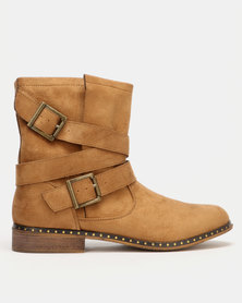 Utopia Buckle Boots Neutrals