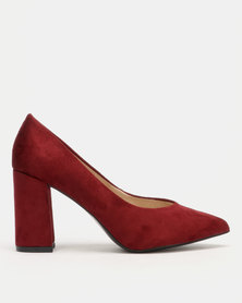Utopia Block Heel Courts Red