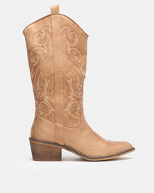 Utopia Stitch Western Boots Neutrals