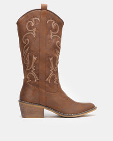 Utopia Stitch Western Boots Brown
