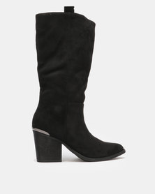 Utopia Knee High Western Boots Black