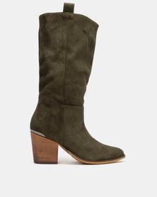 Utopia Knee High Western Boots Khaki