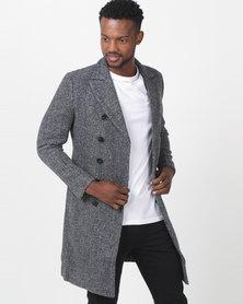 Utopia Double Breasted Melton Coat Grey