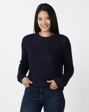 All About Eve Missing Link Knit Top Navy
