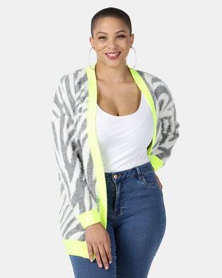 New Look Curves Zebra Button Cardigan Grey