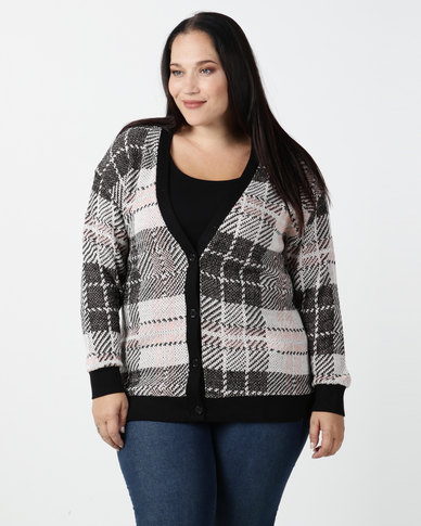 New Look Curves Check Cardigan Multi