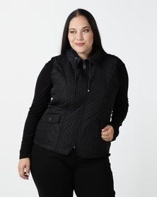 Queenspark Plus New Fancy Gilet Woven Jacket Black
