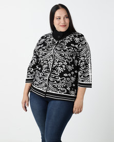 Queenspark Plus Revival Cape Cardigan Black & White