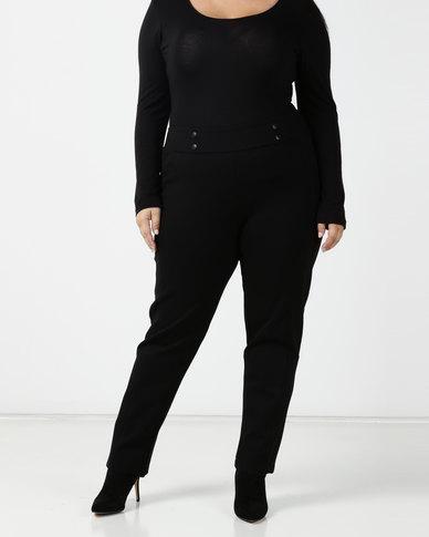 Queenspark Plus Tonal Button & Seam Detail Ponte Knit Pants Black