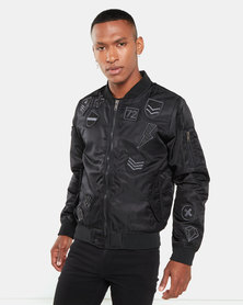 Brave Soul Oslo Badge Bomber Jacket Black