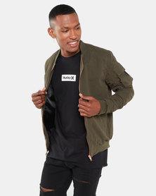 Brave Soul Marks Rouched Bomber Jacket Khaki Green