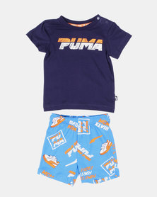 Puma Bunting Minicats Set with Shorts and T-shirt Indigo