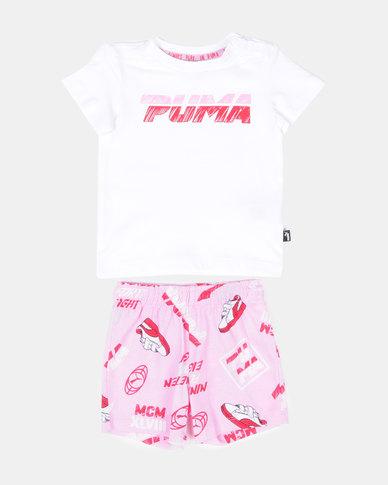 Puma Minicats Set with Short & T-shirt Pale Pink