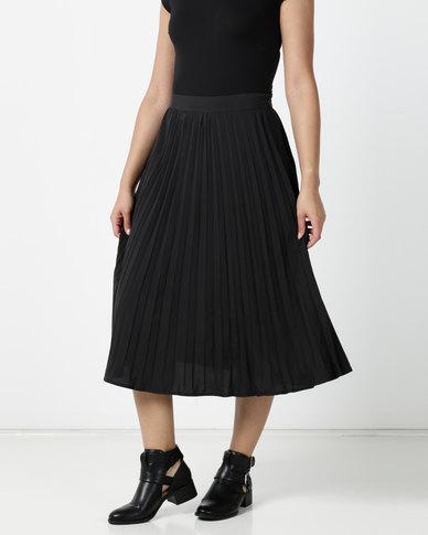 Brave Soul Midi Pleated Skirt Black