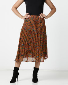Brave Soul Midi Pleated Leopard Print Skirt