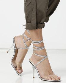 Public Desire Bodega Heels Silver PU