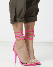 Public Desire Jorja Heels Neon Pink Lycra