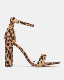 Public Desire Miao Heels Leopard Faux Suede