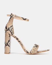 Public Desire Miao Heels Natural Snake