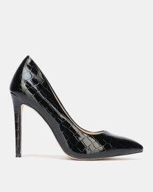 Public Desire Albi Heel Black Patent Croc