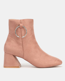 Public Desire BFF Heeled Ankle Boots Blush Nude Faux Suede