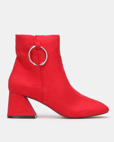 Public Desire BFF Heeled Ankle Boots Blush Red Faux Suede