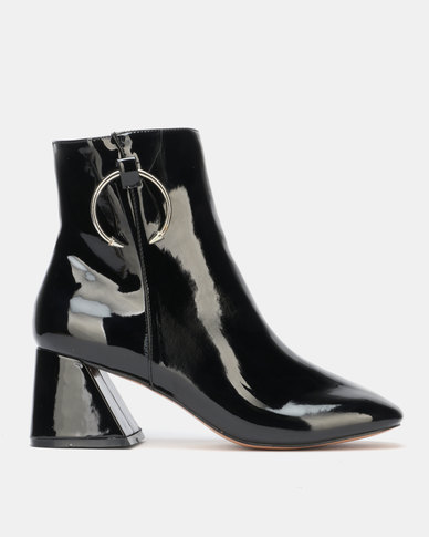 Public Desire BFF Heeled Ankle Boots Black Patent