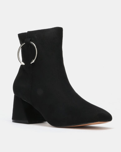 Public Desire BFF Heeled Ankle Boots Black Faux Suede