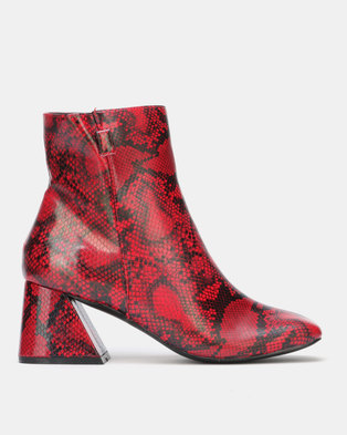Public Desire BFF Heeled Ankle Boots Red and Black Snake PU
