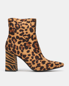 Public Desire Chaos Heeled Ankle Boots Leopard and Tiger Faux Suede