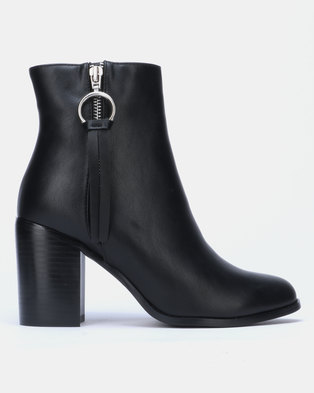 Public Desire Frose Heeled Ankle Boots Black