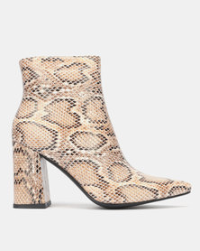Public Desire Hollie Heeled Ankle Boots Natural Snake PU