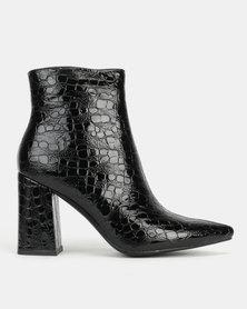 Public Desire Hollie Heeled Ankle Boots Patent Croc Black