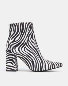 Public Desire Hollie Heeled Ankle Boots Zebra Print